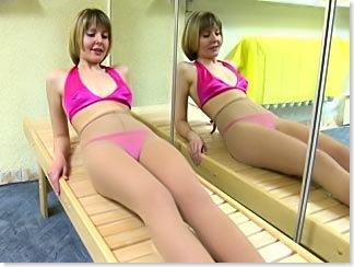 Gym stretching in pantyhose